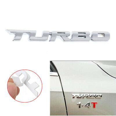 Car 3D TURBO Letter Sticker Metal Emblem Badge Auto Styling Decal Logo Silver • 2.45£