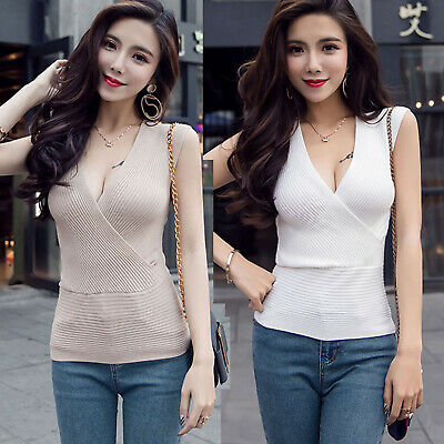 £8.98 • Buy Summer Sexy Deep V-Neck Low-cut Sleeveless Stretch Knit Tops Pullover Vest Tank