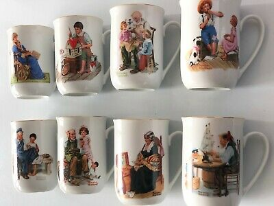 $ CDN50 • Buy Set Of 8 Vintage Norman Rockwell Museum Coffee Mugs Tea Cups