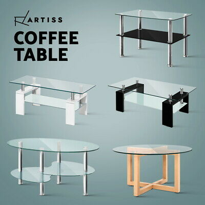 AU109.95 • Buy Artiss Coffee Table Glass Side Tables Bedside Tables Storage Modern Furniture