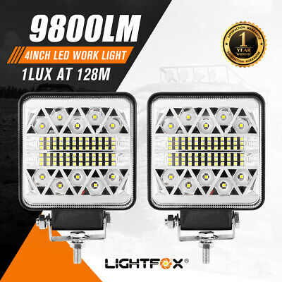 AU29.95 • Buy Pair 4Inch Led Work Light Square Spot Flood Reverse Lamp Offroad Truck Boat