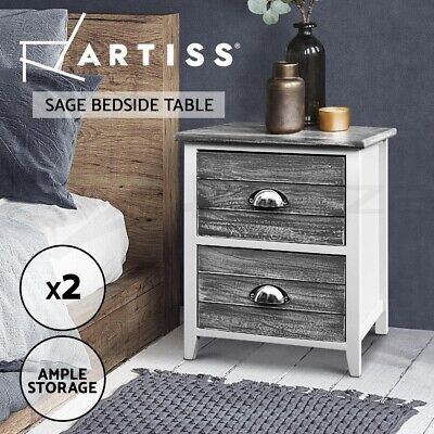 AU70.95 • Buy Artiss Bedside Tables Drawers Side Table Cabinet Nightstand Grey Vintage Unit X2