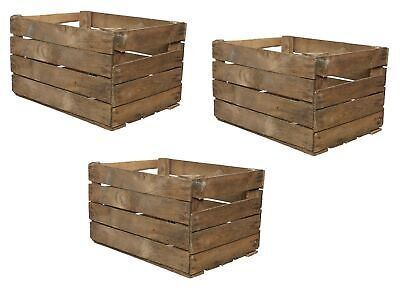 £28.49 • Buy 3 Solid Wooden Apple Crate Box Rustic Used Apple Crate Single 50cm X 40cm X 30cm