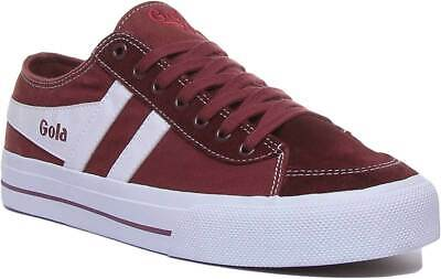 Gola Classics Quota 2 Mens Canvas Lace Up Trainers In Burgundy Size UK 6 - 12 • 46.59£