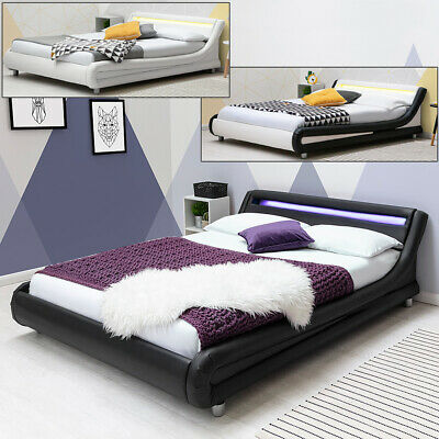 £249.99 • Buy Modern Low Bed With LED Headboard - Single Double King Sizes - Choose Colour