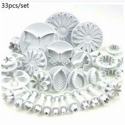 Plunger Cutters Cake Decorating Fondant Cookie Biscuit Mold Flower Set Baking • 6£