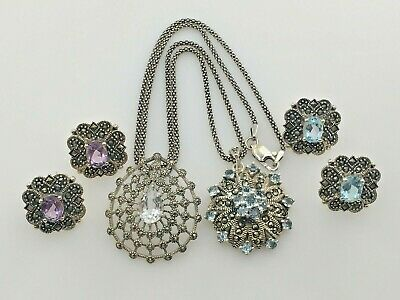 $ CDN85.45 • Buy Sterling Silver 925 Marcasite Blue Topaz Amethyst Pendant Necklaces Earrings Lot