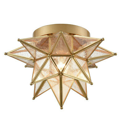 Brass Moravian Star Ceiling Lights Flush Mount Seeded Glass 12  Foyer Light • 119$