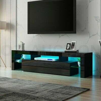 AU169.95 • Buy Black Modern TV Cabinet Stand Furniture Entertainment Unit Table RGB LED Light
