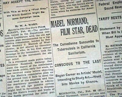 $50 • Buy MABEL NORMAND Hollywood Silent Film Comedienne Actress DEATH 1930 Old Newspaper