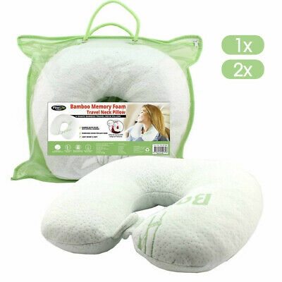 AU14.37 • Buy Neck Pillow Memory Foam Travel Cushion Easy Wash Relieve Pressure Plane Bamboo