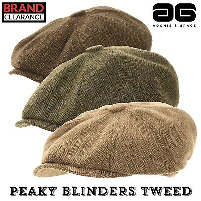 Peaky Blinder Cap Tweed Country Hat (4 Sizes) Shooting, Outdoor Mens By A&G • 8.99£