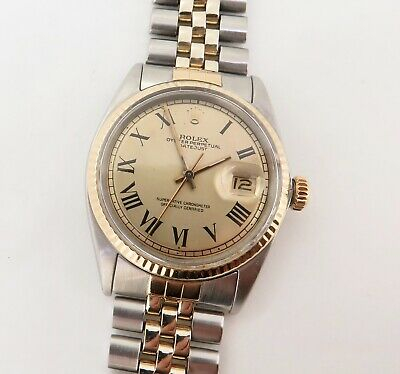 AU4950 • Buy .Vintage 1967 Rolex Datejust 1601 Step Roman Dial Steel & Gold Watch - 1570