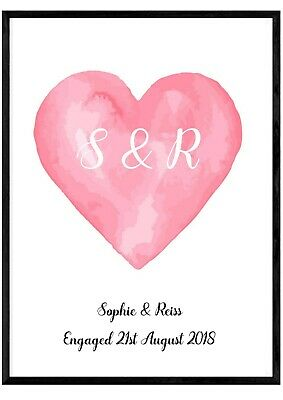 Personalised Engagement Wedding Print Present Gift Anniversary Couple Initials  • 2.99£