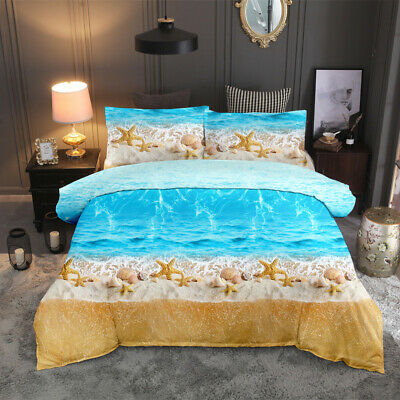AU45.99 • Buy 3D Ocean Beach Starfish Quilt Doona Duvet Cover Set Queen King Size Bedding Set
