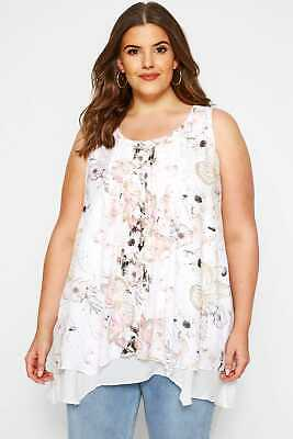 AU48.92 • Buy Yours Clothing Women's Plus Size White Floral Layered Blouse