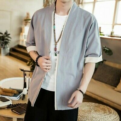 $30.73 • Buy Men Chinese Style Tang Suit Linen Cotton Loose Solid Cardigan Kimono New Jackets