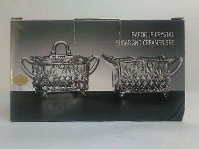 $15.40 • Buy Godinger Shannon Crystal Sugar Bowl And Creamer Set Baroque Design Open Box