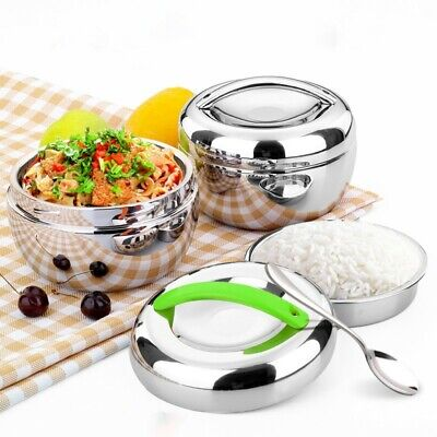 AU24.08 • Buy Mini Stainless Steel Double Layer Round/Bento Thermos Lunch Box Food Container