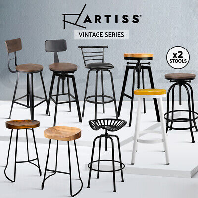 AU168.90 • Buy Artiss Bar Stools Kitchen Stool Wooden Barstools Chairs Vintage Metal X1/2/4