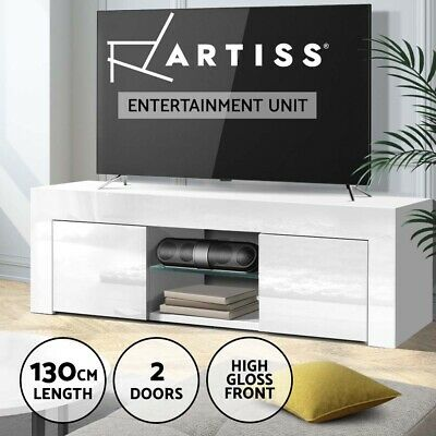 AU99.95 • Buy Artiss 130cm TV Cabinet Entertainment Unit Stand High Gloss Storage Shelf White