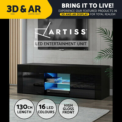 AU109.95 • Buy Artiss TV Cabinet Entertainment Unit Stand RGB LED Gloss Furniture 130cm Black