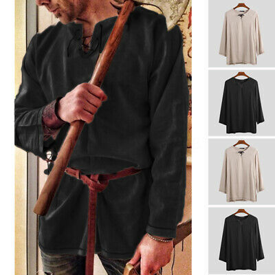 Medieval Renaissance Tunic Tops Mens Cosplay Costume V-neck Long Sleeve Tops Tee • 8.48£
