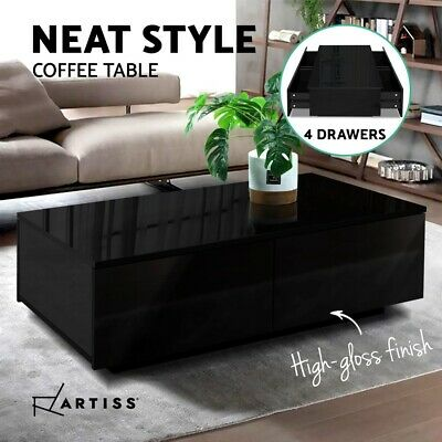 AU115.95 • Buy Artiss Modern Coffee Table 4 Storage Drawers High Gloss Tables Wooden Black