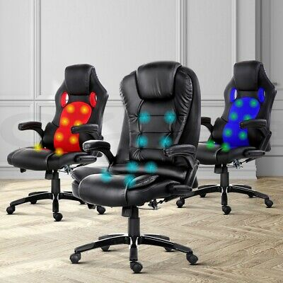 AU279 • Buy Artiss Massage Office Chair Computer Gaming Chairs Heated Reclinier 8-Point