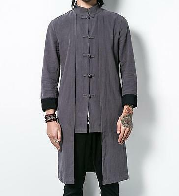$50.30 • Buy Retro Mens Chinese Cotton Linen Tang Suit Coat Manual Button Casual Jacket Tops