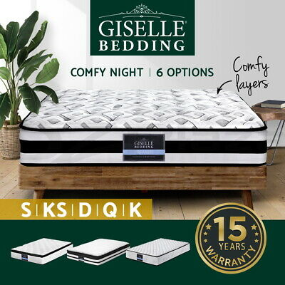 AU105 • Buy Giselle Bed Mattress Queen Double King Single Pocket Spring Firm Foam Full Size