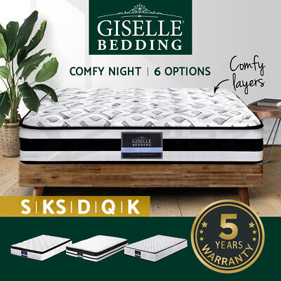 AU179 • Buy Giselle Mattress Queen Double King Single Pocket Spring Euro Tight Pillow Top