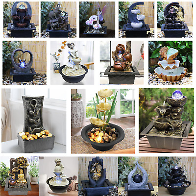 £20.99 • Buy Indoor Tabletop Fountain Water Feature LED Lights Polyresin Statues Home Decor