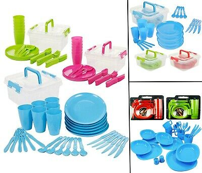£8.49 • Buy Large Plastic Picnic Camping Party Dinner Plate Mug Cutlery Set Storage Box