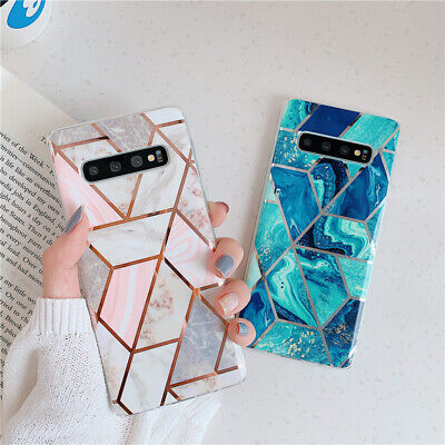 $ CDN5.06 • Buy For Samsung Galaxy S10e S10 S9 S8 Plus Glossy Pink Plating Luxury Geometry Cases