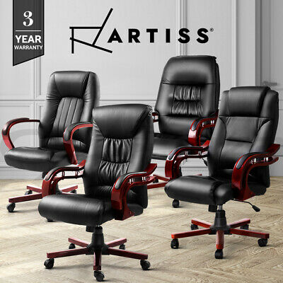 AU149.95 • Buy Artiss Office Chair Wooden Computer Gaming Chairs Vintage Padded Seating Black