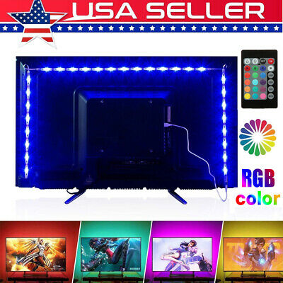 $9.58 • Buy 5V USB LED Strip Lights TV Back Light 5050 RGB Colour Changing With 24Key Remote
