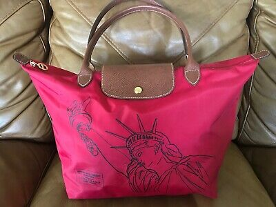 7d7c8c05a7d3 RARE Longchamp Le Pliage Red Statue Of Liberty New York Shopping Tote Bag •  99.99$