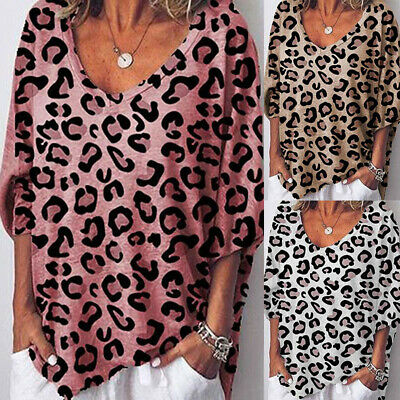 AU14.29 • Buy Womens Loose Leopard Print T-Shirt Ladies V Neck Baggy 3/4 Sleeve Casual Blouse