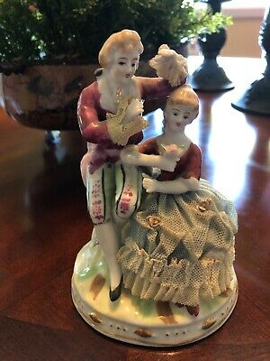 $ CDN39.64 • Buy Vintage Dresden Lace Porcelain Figurine Courting Couple