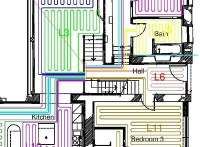 Underfloor Heating Water Pipe Layout CAD DRAWING DESIGN SERVICE MANIFOLDS Loops • 19.99£