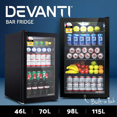 AU429 • Buy Devanti Glass Bar Fridge Door Mini Counter Top Freezer Fridges Bottle Cooler