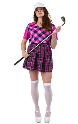 Damen Lila Pub Golfer Maskenkostüm Ladies' Pub Golf Costume • 27.51£