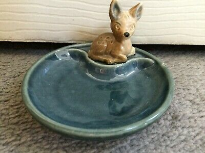 Wade- Baby Deer In Brown Sitting Down With Whimtray In Aqua- Porcelain -cute • 5.99£