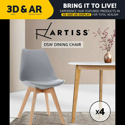 AU159.95 • Buy Artiss 4x Retro Replica Dining Chairs Leather Chair Padded Seat Grey