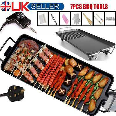 Electric Table Top Grill Griddle BBQ Hot Plate Camping Cooking Cast Iron Pan 26X • 28.79£