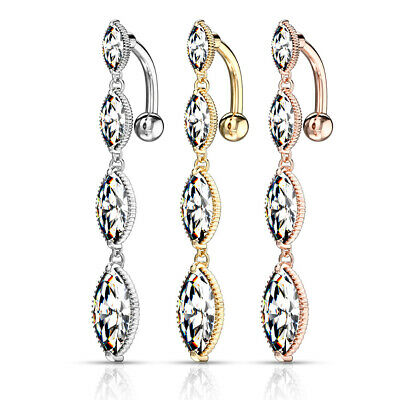 £5 • Buy Reverse Top Drop Marquise Crystal Belly Bar Silver, Gold Or Rose Gold Plated