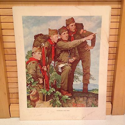 $ CDN30.33 • Buy BSA True Vintage NORMAN ROCKWELL Print Boy Scouts  Pointing The Way  Red Letters