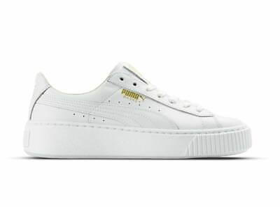 Donna puma bianche basket leather trainers