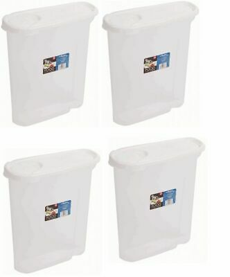 £11.79 • Buy 4 X Wham 2.5 Litre Cereal Dispenser Tub - Clear With White Lid